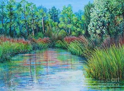 Tidal Creek Painting - High Tide by Pamela Iris Harden