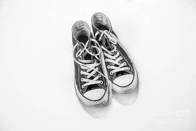 Converse Digital Art - High Tops In Snow Black And White by Randy Steele