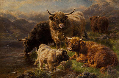 Sheep. Landscape Painting - Highland Cattle by William Watson