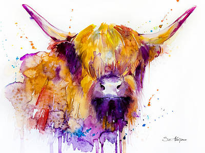 Cows Mixed Media - Highland Cow by Slavi Aladjova
