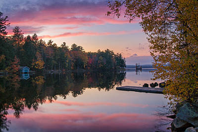 Photograph - Highland Lake Autumn Sunset by Darylann Leonard Photography