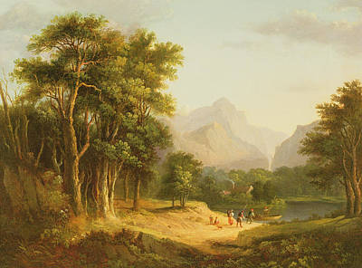 Mountain Valley Painting - Highland Landscape With Figures by Alexander Nasmyth