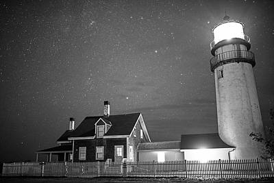 Highland Light Truro Massachusetts Cape Cod Starry Sky Black And White Print by Toby McGuire