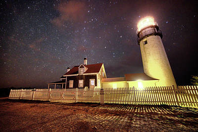 Photograph - Highland Light Truro Massachusetts Cape Cod Starry Sky Shadow by Toby McGuire