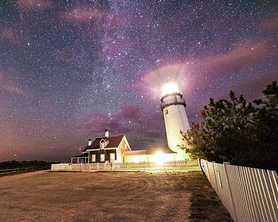 Photograph - Highland Light Truro Massachusetts Cape Cod Starry Sky Shadow Yard by Toby McGuire
