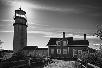 Highland Lighthouse Bw Art Print by Joan Carroll
