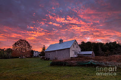 Highland Road Barn At Sunrise Art Print by Benjamin Williamson