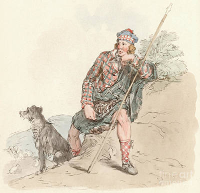 Shepherd Drawing - Highland Shepherd by English School