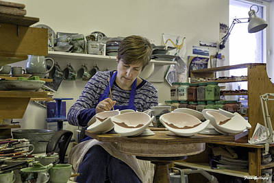 Photograph - Highland Stoneware Artist At Work by Fran Gallogly