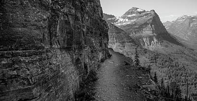 Photograph - Highland Trail Black And White In Glacier National Park  by John McGraw