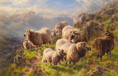 Nature Scene Painting - Highland Wanderers by William Watson