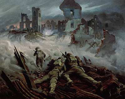 Highlanders Advancing To Caen Art Print by Orville Norman Fisher