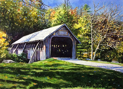 Covered Bridge Painting - Highlands Covered Bridge by Christy Mullen