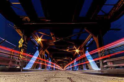 Photograph - Highlevel Bridge Light Trails 1 by Darcy Michaelchuk