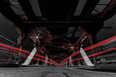 Photograph - Highlevel Bridge Light Trails 3 by Darcy Michaelchuk