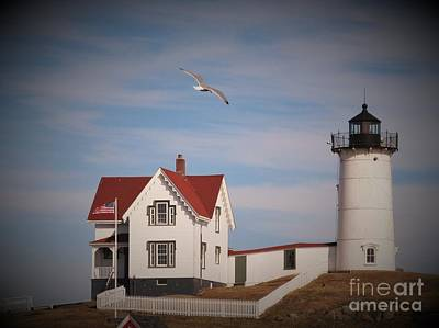 Photograph - Highlighting The Nubble Light by Loretta Pokorny