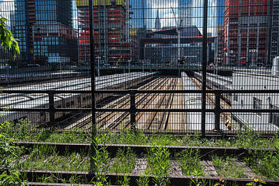Photograph - Highline Trail Train Yard New York Ny Empire State Building by Toby McGuire