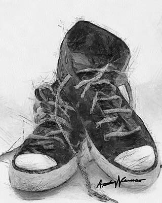 Shoe Digital Art - Hightops by Anthony Caruso