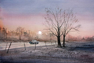 Painting - Highway 21 Sunrise by Ryan Radke