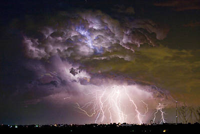 Highway 52 Storm Cell - Two And Half Minutes Lightning Strikes Print by James BO  Insogna