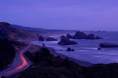 Curving Road Photograph - Highway Along The Coast, Us Route 101 by Panoramic Images