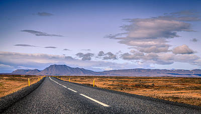 Vintage Diner Cars Royalty Free Images - Highway in Iceland Royalty-Free Image by Alexey Stiop