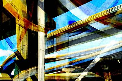 Digital Art - Highway Intersections Abstract W Map by Anita Burgermeister