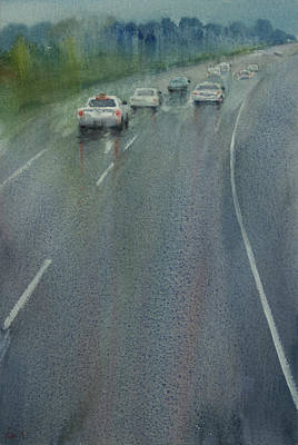 Painting - Highway On The Rain02 by Helal Uddin