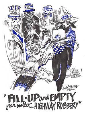 Sethweaver Drawing - Highway Robbery American Style by Seth Weaver