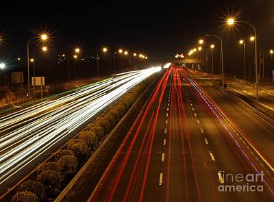 Photograph - Highway Traffic By Night by Yali Shi