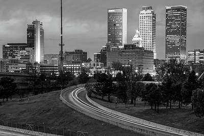 Print featuring the photograph Highway View Of The Tulsa Skyline At Dusk - Black And White by Gregory Ballos