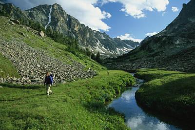 Beartooth Mountain Range Photograph - Hiker Along A Stream In A Beartooth by Kate Thompson