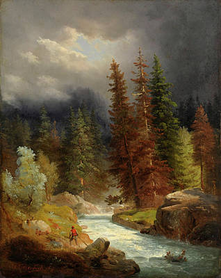 Hiker Painting - Hiker At Mountain Stream by Andreas Achenbach