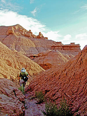 Photograph - Hiker On The Entrada  Trail In Goblin Valley State Park, Utah by Ruth Hager