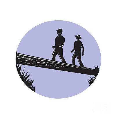 Hikers Crossing Single Log Bridge Oval Woodcut Print by Aloysius Patrimonio