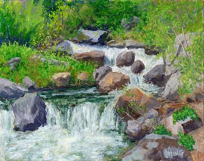 Falling Water Painting - Hiker's Delight by David King