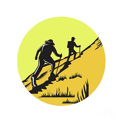 Hikers Hiking Up Steep Trail Circle Woodcut Art Print by Aloysius Patrimonio