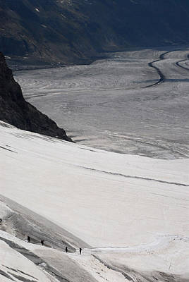 Jungfraujoch Photograph - Hikers On The Glacier by Anne Keiser