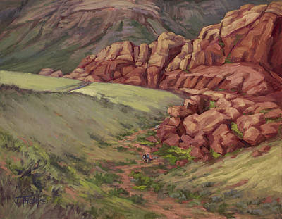Painting - Hikers Red Rock Canyon by Jane Thorpe