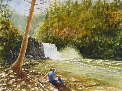 Cades Cove Painting - Hiker's Reward At Abrams Falls by Carl Whitten