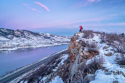 Horsetooth Mountain Photograph - hiking Colorado before sunrise by Marek Uliasz