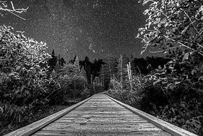 Photograph - Hiking Into The Night Adirondack Log Keene Valley Ny New York Black And White by Toby McGuire