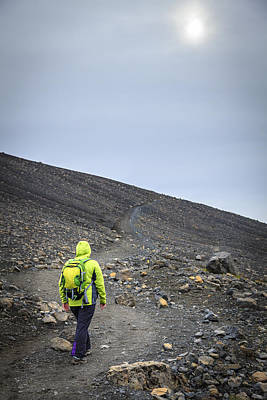 Europe Photograph - Hiking On The Hverfjall Crater by Alexey Stiop
