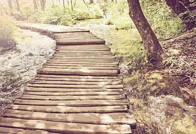 Hiking Path On A Wooden Trail With Retro Vintage Style Art Print