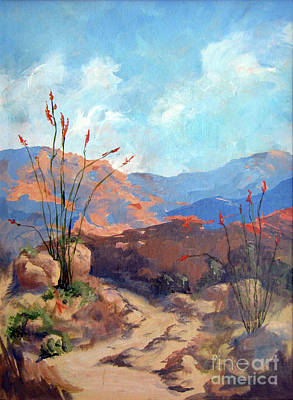 Desert Scape Painting - Hiking The Santa Rosa Mountains by Maria Hunt