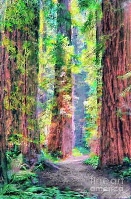 Sequoia Painting - Hiking Through Three Redwood Trees Ap by Dan Carmichael