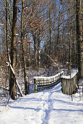 Photograph - Hiking Trail Bridge In Snow 2 121417 by Mary Bedy