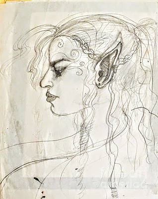 Drawing - Hilary Elf Sketch by Suzn Art Memorial