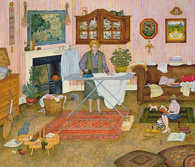 Mother Board Painting - Hilda Nekudas Ironing Day by Ditz