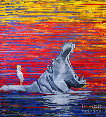 Hippopotamus Mixed Media - Hilda The Hippo by Mariette Flowie Van den Heever